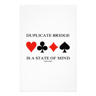Duplicate Bridge Is A State Of Mind (Card Suits) Custom Stationery