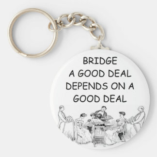 DUPLICATE BRIDGE JOKE BASIC ROUND BUTTON KEY RING