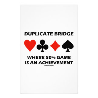 Duplicate Bridge Where 50 Game Is An Achievement Stationery