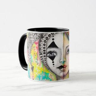 """Duplicity"" Artistic Bold Bright Girl Black White Mug"