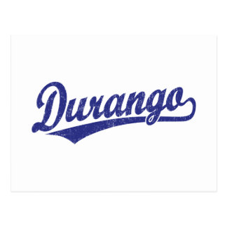 Durango script logo in blue postcard