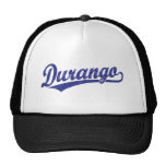 Durango script logo in blue trucker hat