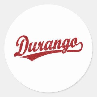 Durango script logo in red classic round sticker
