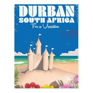 Durban South Africa vintage beach travel poster Postcard