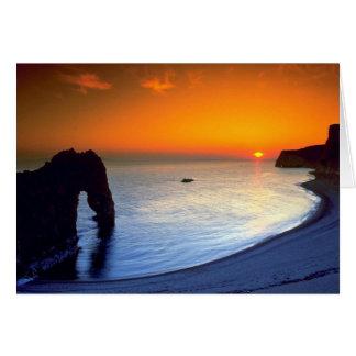 Durdle Door, sunset, Dorset, England Card