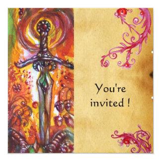 DURENDAL , ROMANTIC SWORD AND THE ANGEL 13 CM X 13 CM SQUARE INVITATION CARD