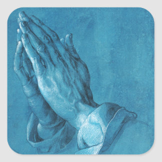 Durer Praying Hands Square Sticker