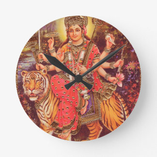 DURGA AND THE TIGER ROUND CLOCK