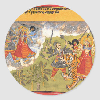 Durga fights the Daitya Raja Classic Round Sticker