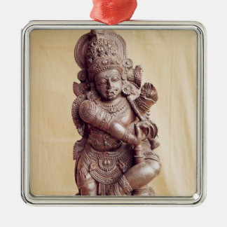 Durga, from Southern India Silver-Colored Square Decoration