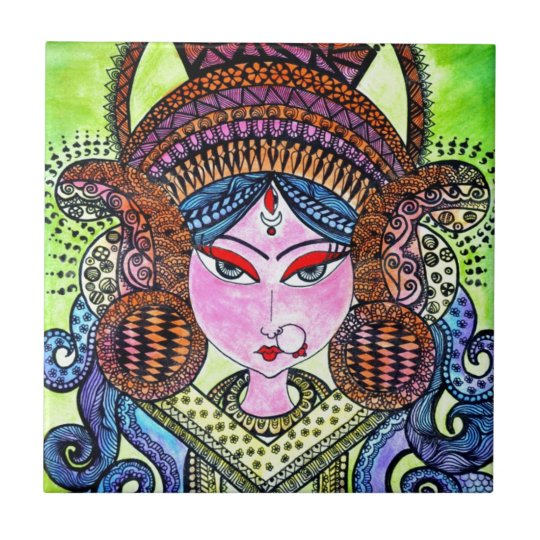 Durga Maa Small Square Tile