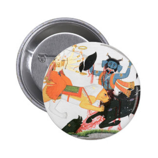 Durga slaying a demon 6 cm round badge