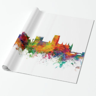 Durham England Skyline Cityscape Wrapping Paper