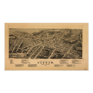 Durham N. Carolina 1891 Antique Panoramic Map Poster