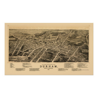 Durham, NC Panoramic Map - 1891 Poster