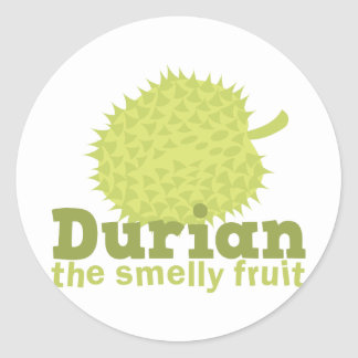 Durian the smelly fruit round sticker