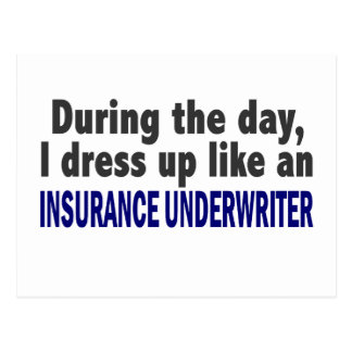 During The Day I Dress Up Insurance Underwriter Postcard