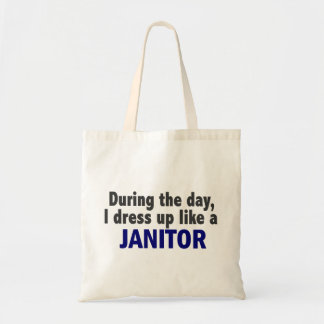 During The Day I Dress Up Like A Janitor Canvas Bags