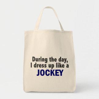 During The Day I Dress Up Like A Jockey Canvas Bag