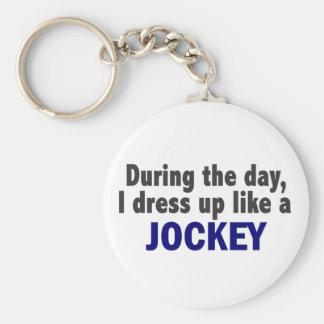 During The Day I Dress Up Like A Jockey Keychains
