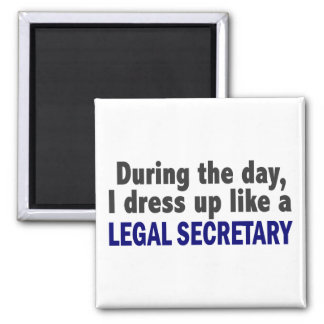 During The Day I Dress Up Like A Legal Secretary Square Magnet