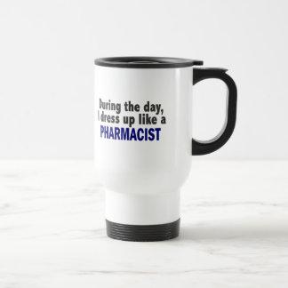 During The Day I Dress Up Like A Pharmacist Travel Mug