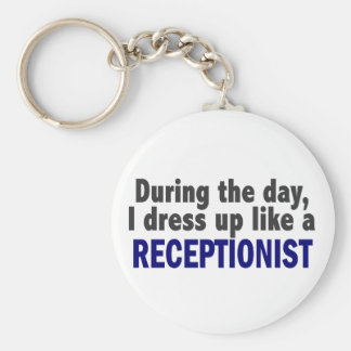 During The Day I Dress Up Like A Receptionist Basic Round Button Key Ring
