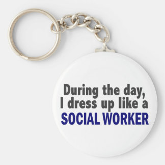 During The Day I Dress Up Like A Social Worker Key Ring