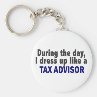 During The Day I Dress Up Like A Tax Advisor Basic Round Button Key Ring