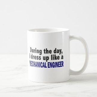 During The Day I Dress Up Like Mechanical Engineer Basic White Mug