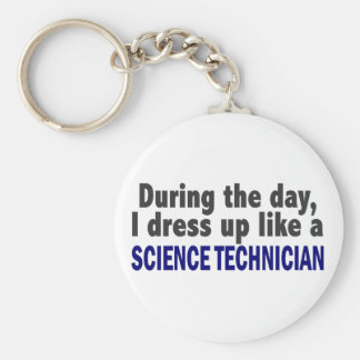 During The Day I Dress Up Like Science Technician Basic Round Button Key Ring