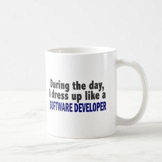 During The Day I Dress Up Like Software Developer Basic White Mug