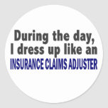 During The Day Insurance Claims Adjuster Round Sticker