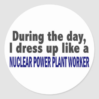 During The Day Nuclear Power Plant Worker Round Sticker