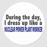 During The Day Nuclear Power Plant Worker Round Stickers