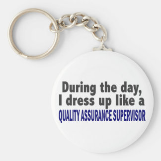 During The Day Quality Assurance Supervisor Basic Round Button Key Ring