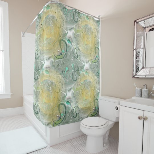 duschvorhang - green/yellow with ornamentations shower curtain