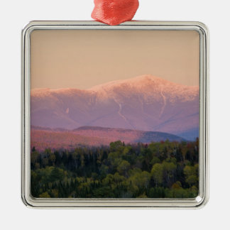 Dusk and Mount Washington in new Hampshire's Silver-Colored Square Decoration