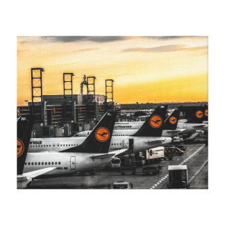 Dusk at Frankfurt airport Canvas Print