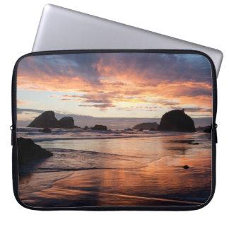 Dusk beach laptop sleeve
