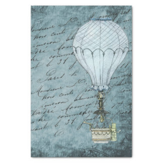 Dusk Blue Hot Air Balloon Steampunk Handwriting Tissue Paper