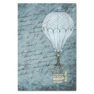 Dusk Blue Hot Air Balloon Steampunk Handwriting Tissue Paper
