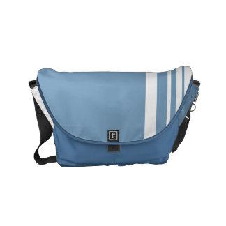 Dusk Blue Trio Stripes with White Messenger Bag