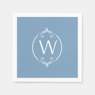 Dusk Blue White Frame Monogram Paper Napkins Disposable Napkin