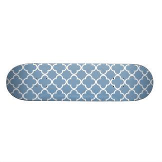 Dusk Blue White Quatrefoil Moroccan Pattern Skateboard