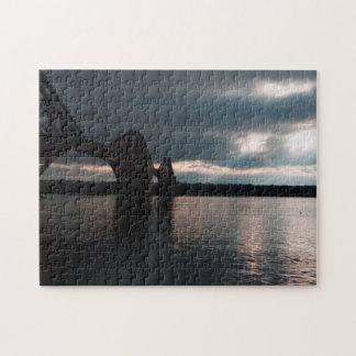 Dusk, Forth Rail Bridge and Firth of Forth, Fife Jigsaw Puzzle