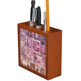 Dusk Glow Desk Organiser, Postage Stamp Pen Pot Desk Organiser