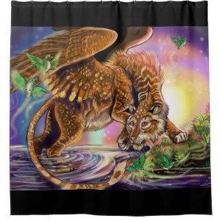 Dusk Hunter Flying Cat Shower Curtain