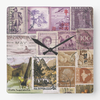 Dusk Landscape Wall Clock, Postage Stamp Art Clocks