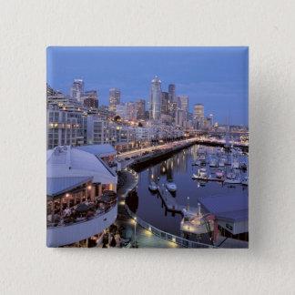 Dusk on Bell Harbor in Seattle, Washington. 15 Cm Square Badge